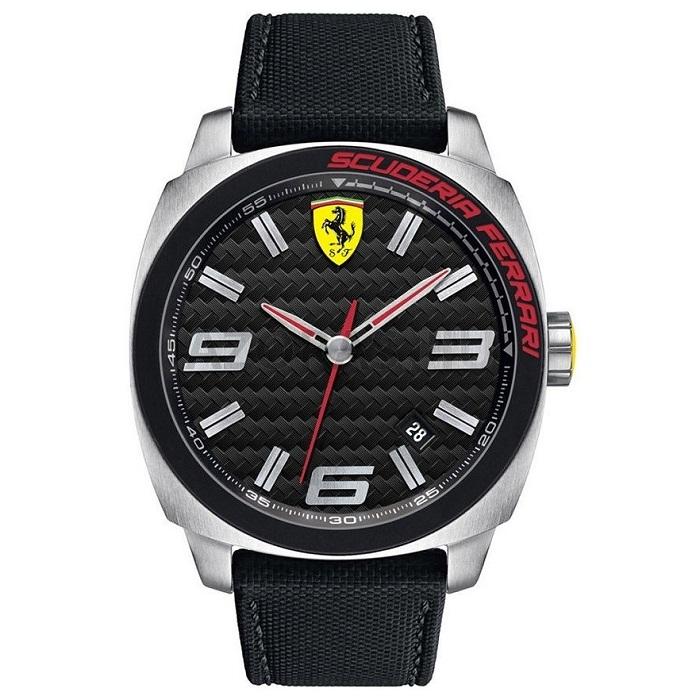 Ρολόι Ανδρικό Ferrari Scuderia 0830163 με υφασμάτινο λουρί και μαύρο καντράν 399ba155690
