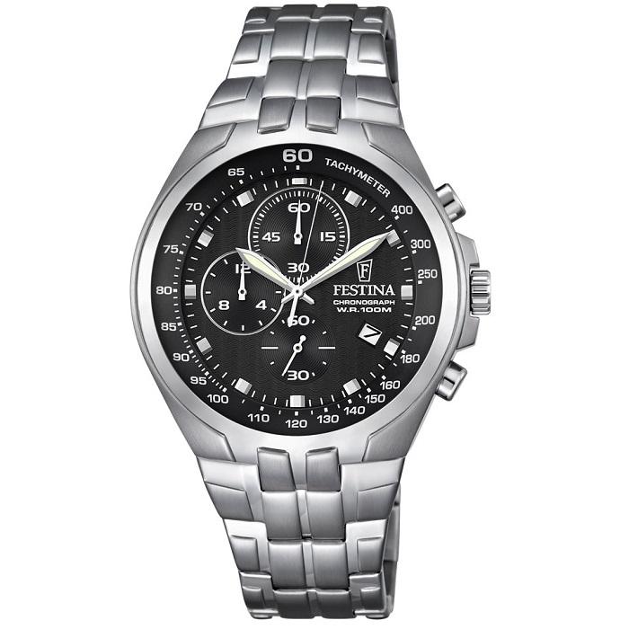 Ρολόι ανδρικό Festina F6843-4 Chronograph με μπρασελέ και μαύρο καντράν 301c2aa81cf