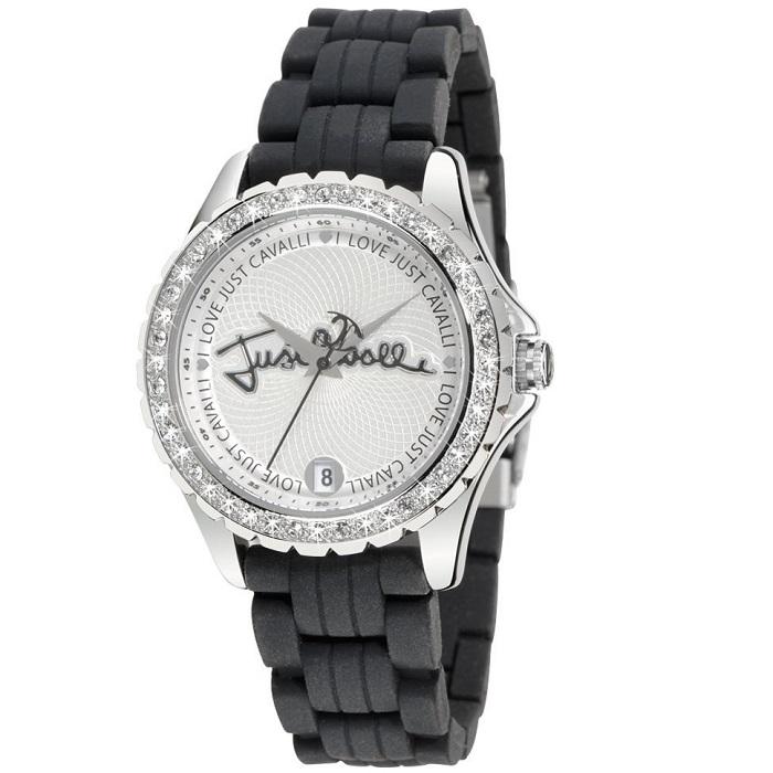 Ρολόι γυναικείο Just Cavalli R7251267515 με Rubber σε μαύρο χρώμα και λευκό  καντράν 4de044429d2
