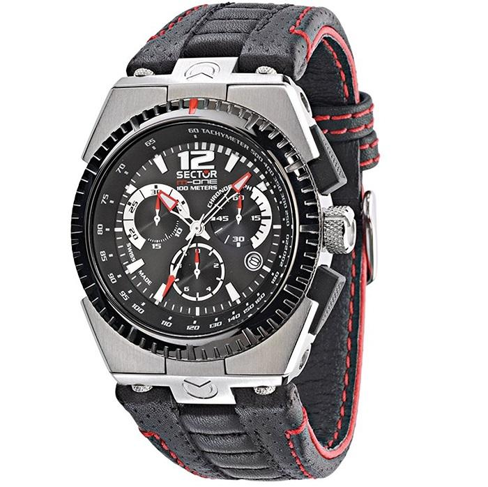 Ρολόι ανδρικό Sector M-One Chronograph R3271671225 με δερμάτινο λουρί και μαύρο  καντράν 507491a2c7f