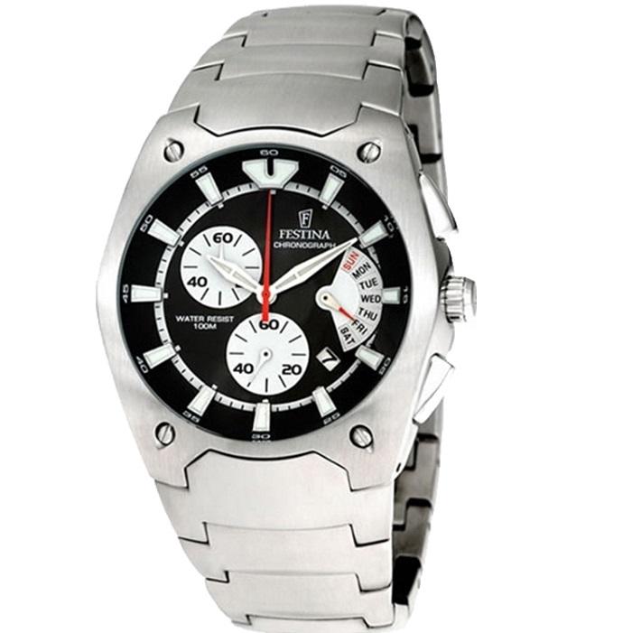 Ρολόι ανδρικό Festina F6719-4 Chronograph με μπρασελέ και μαύρο καντράν e039ae1403f