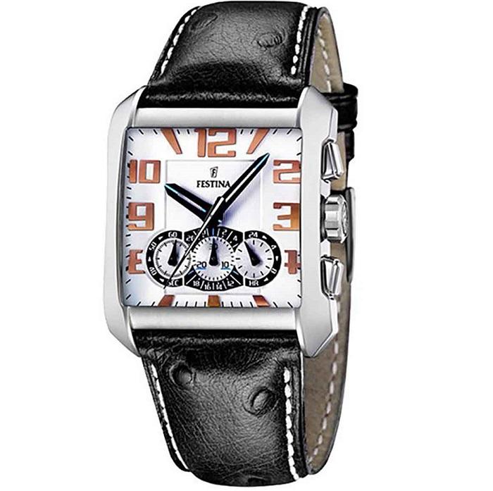 Ρολόι ανδρικό Festina F16294-1 Chronograph με δερμάτινο λουρί και λευκό  καντράν 62624223d57