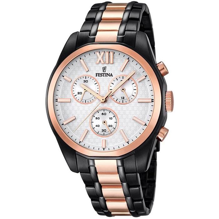 Ρολόι ανδρικό Festina F16856-1 Chronograph με δίχρωμο μπρασελέ και λευκό  καντράν 0cadcac164d