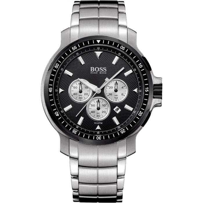 Ρολόι ανδρικό Hugo Boss 1512109 Chronograph με μπρασελέ και μαύρο καντράν ba7b6fa0238