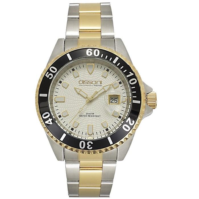 Ρολόι ανδρικό Dissoni D88843 με δίχρωμο μπρασελέ και μπεζ καντράν 680c6ee94fc