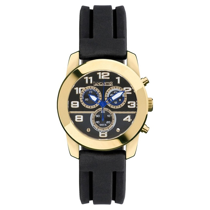 Ρολόι ανδρικό Lancaster OLA0465NRYGNR με Rubber και μαύρο καντράν 4fbef890257
