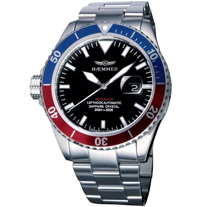 Ρολόι ανδρικό Haemmer Orion Navy Diver Lefthook ND-03 Automatic με μπρασελέ  και μαύρο καντράν e47aef3c068