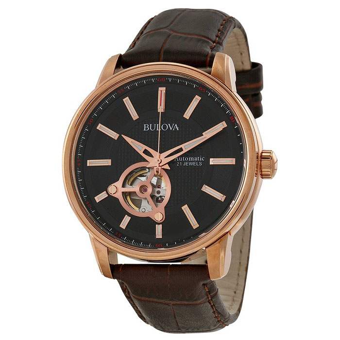 Ρολόι ανδρικό Bulova Automatic Mechanical 97A109 με δερμάτινο λουρί και  μαύρο Open καντράν dbe1e267b9b