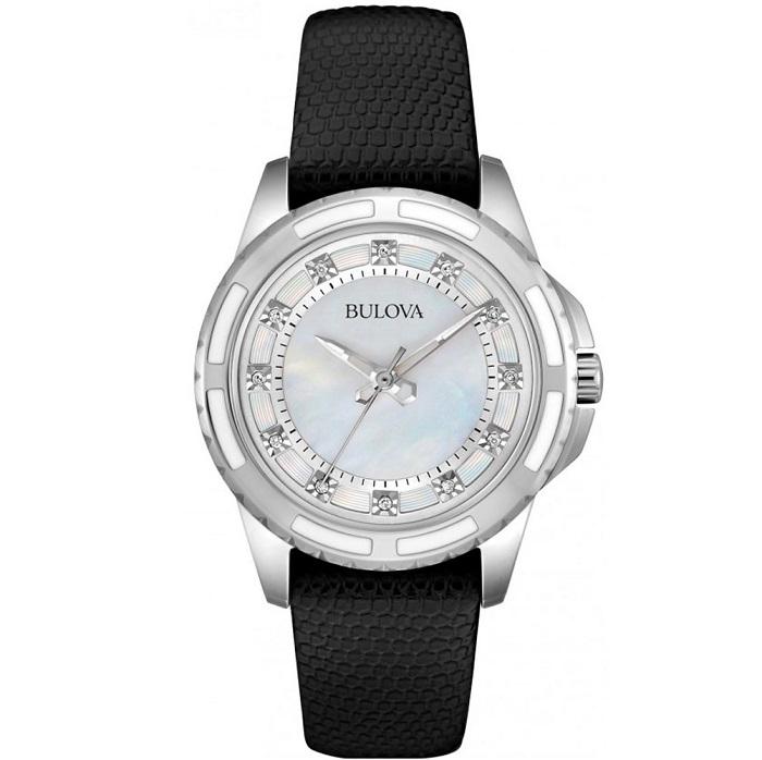 Ρολόι γυναικείο Bulova Diamond 98S139 με δερμάτινο λουρί και λευκό Mother  Of Pearl καντράν 9600db86ee0