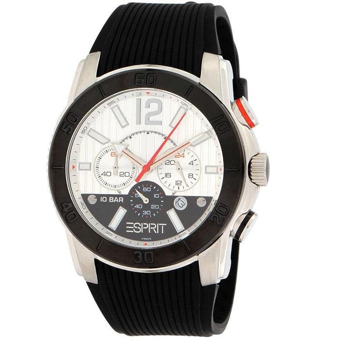 Ρολόι ανδρικό Esprit ES101681005 με Rubber και μαύρο με λευκό καντράν 8ad9abddc36