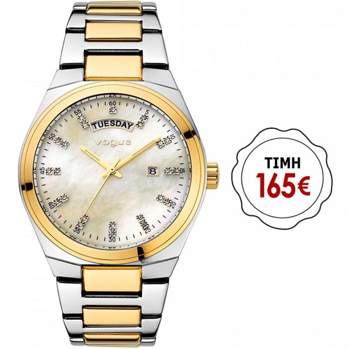 Ρολόι γυναικείο Vogue Happy Days 70337.2 με δίχρωμο μπρασελέ και μπεζ  καντράν Mother Of Pearl 8cf14978e6c