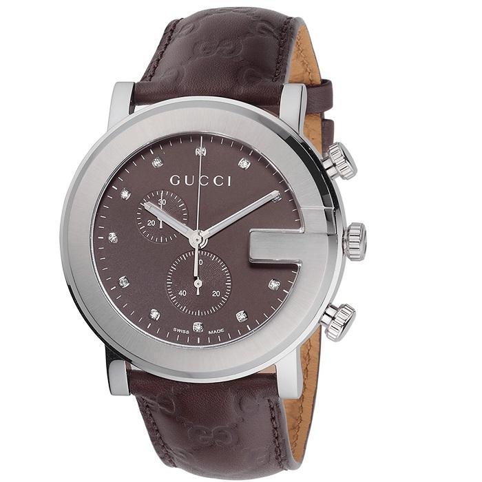 Ρολόι γυναικείο Gucci Chronograph YA101344 με δερμάτινο λουρί και καφέ  καντράν με μπριγιάν 0b47ce6eced