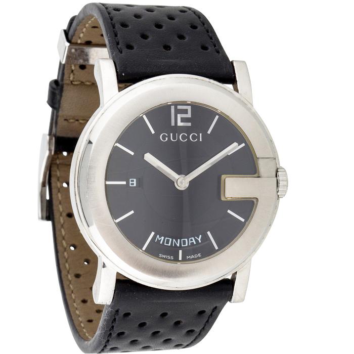 Ρολόι ανδρικό Gucci G Round YA101301 Day Date με δερμάτινο λουρί και μαύρο  καντράν 38ab2775a51