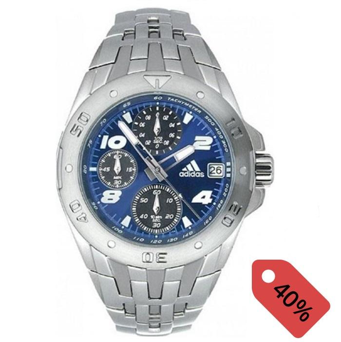 Ρολόι ανδρικό Adidas Chronograph 10.294.102 με μπρασελέ και μπλέ καντράν ba9dd15dbf6