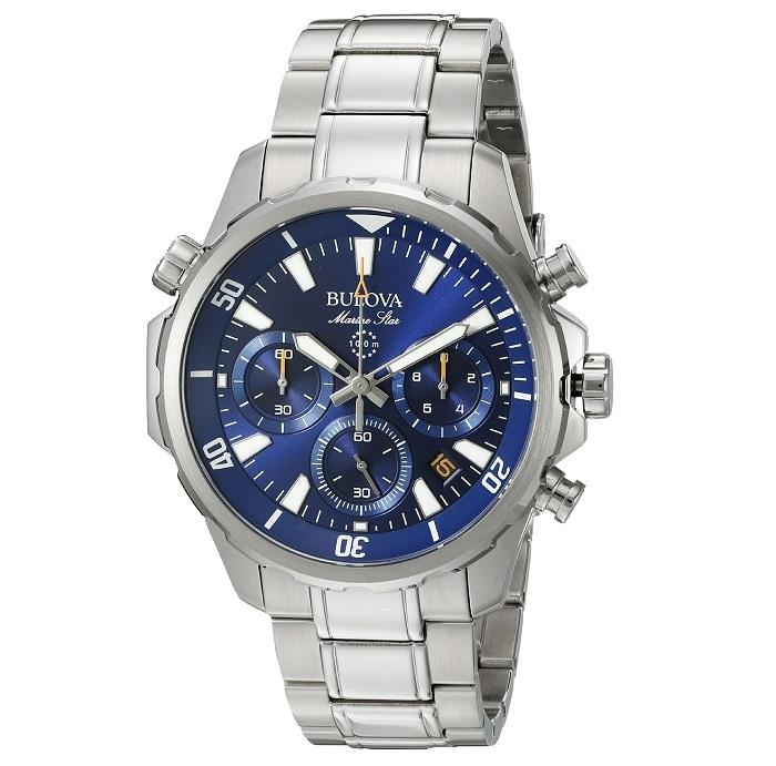 Ρολόι ανδρικό Bulova Sport Marine Star Collection 96B256 με μπρασελέ και  μπλε καντράν bfbd2613158
