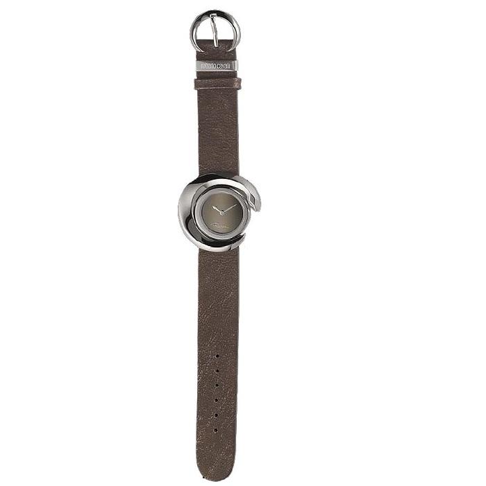 Ρολόι γυναικείο Roberto Cavalli R7251113035 με δερμάτινο λουρί και χακί  γκρι καντράν 26f946cfed7