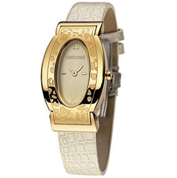 Ρολόι γυναικείο Roberto Cavalli Franck Muller Diana R7251118575 με δερμάτινο  λουρί και μπεζ καντράν 50a941c7ee0