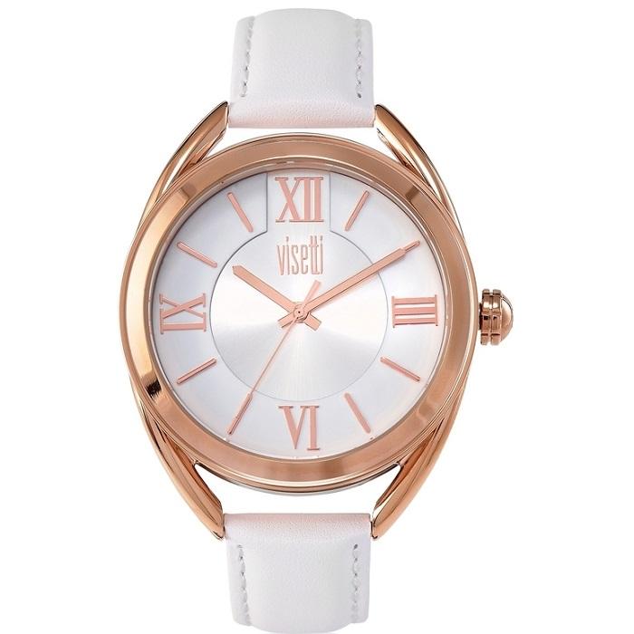Ρολόι γυναικείο Visetti Elisabetta TI-725RW με δερμάτινο λουρί και λευκό  καντράν 711d1ab0c76