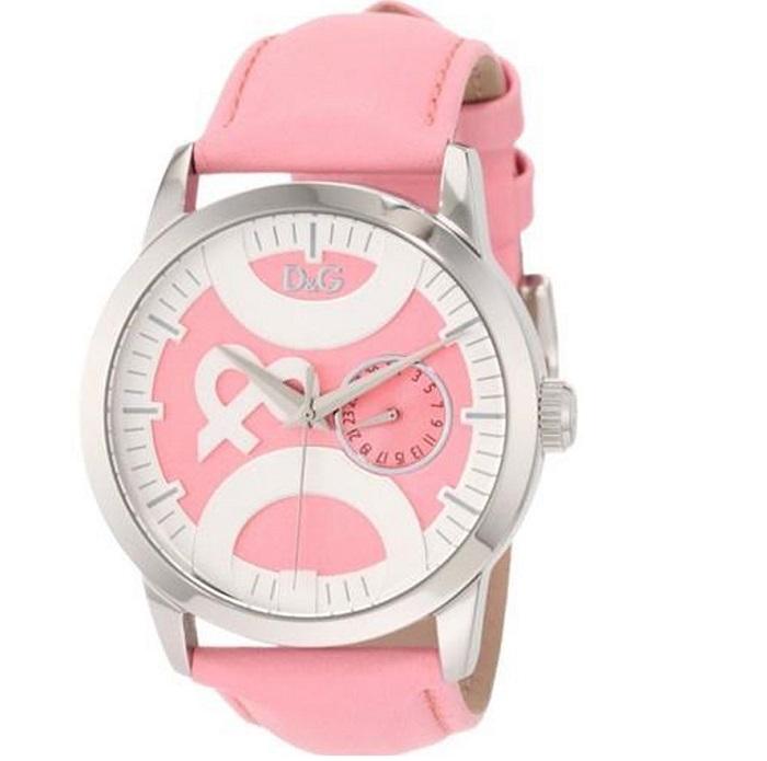 Ρολόι γυναικείο D G Twin Tip DW0756 με δερμάτινο λουρί και ροζ καντράν 881bdddcb6b