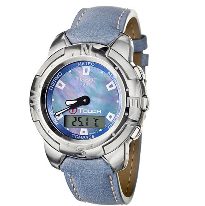 Ρολόι γυναικείο Tissot T-Touch T33.7.638.81 με δερμάτινο λουρί αναλογικό- ψηφιακό φιλνρισένιο καντράν 69281e17efb