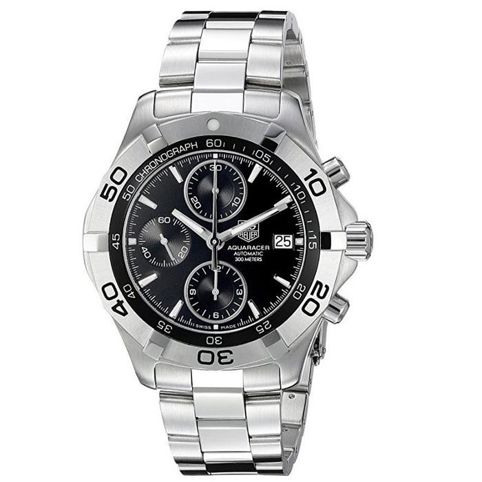 Ρολόι ανδρικό Tag Heuer Aquaracer CAF2110 Automatic με μπρασελέ και μαύρο  καντράν f98ab3a5025
