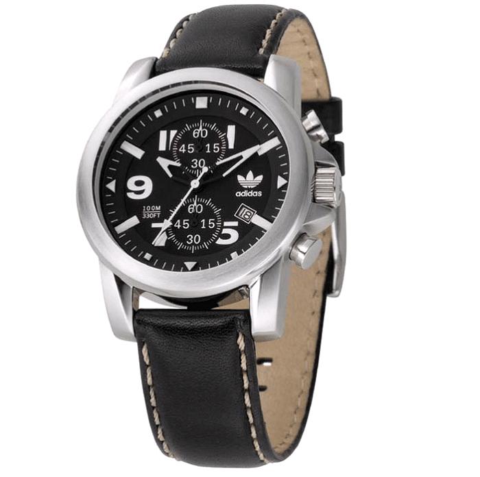Ρολόι ανδρικό Adidas Chronograph ADH1163 με δερμάτινο λουρί και μαύρο  καντράν 18ef82f4218