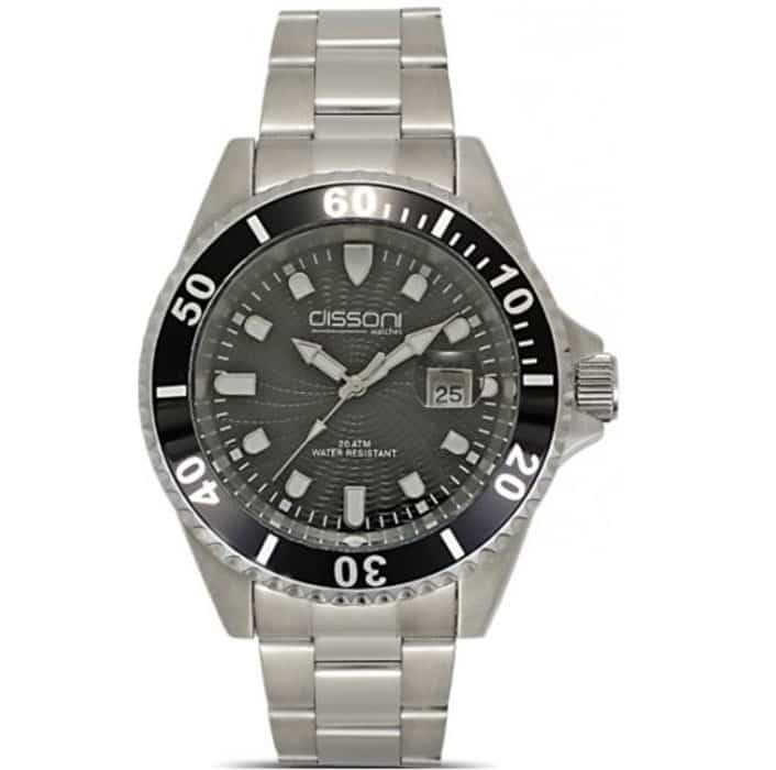 Ρολόι ανδρικό Dissoni D90539 με μπρασελέ και ανθρακί καντράν 0c85911c54e