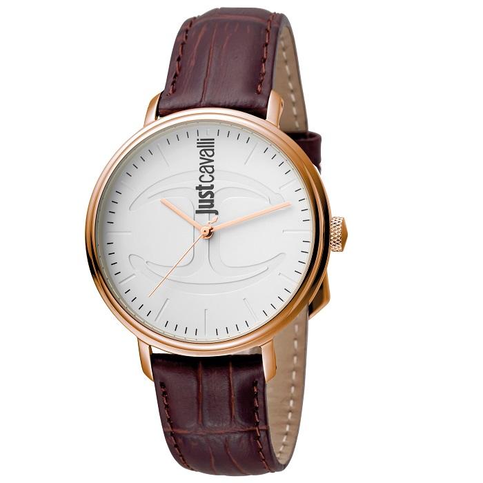Ρολόι γυναικείο Just Cavalli JC1G012L0035 με δερμάτινο λουρί και λευκό  καντράν 6d0b8f6c123