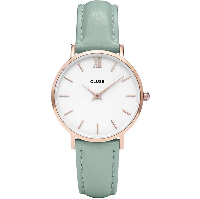 Ρολόι γυναικείο Cluse Minuit CL30017 με δερμάτινο λουρί και λευκό καντράν a41579571f2