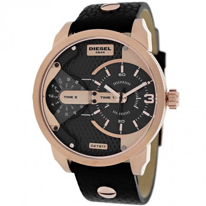 Ρολόι Diesel DZ7317 Mini Daddy με δερμάτινο λουρί και μαύρο καντράν 88af5359a00