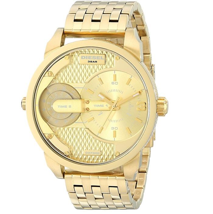 Ρολόι ανδρικό Diesel Mini Daddy DZ7306 με μπρασελέ και κίτρινο χρυσό καντράν d649c366477