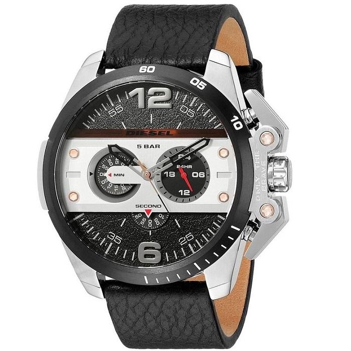 Ρολόι ανδρικό Diesel Ironside DZ4361 με δερμάτινο λουρί και μαύρο ασημί  καντράν 95983c2e0b1