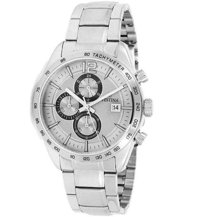 Ρολόι ανδρικό Festina F16759-2 με μπρασελέ και ασημί καντράν 7365775ca7c