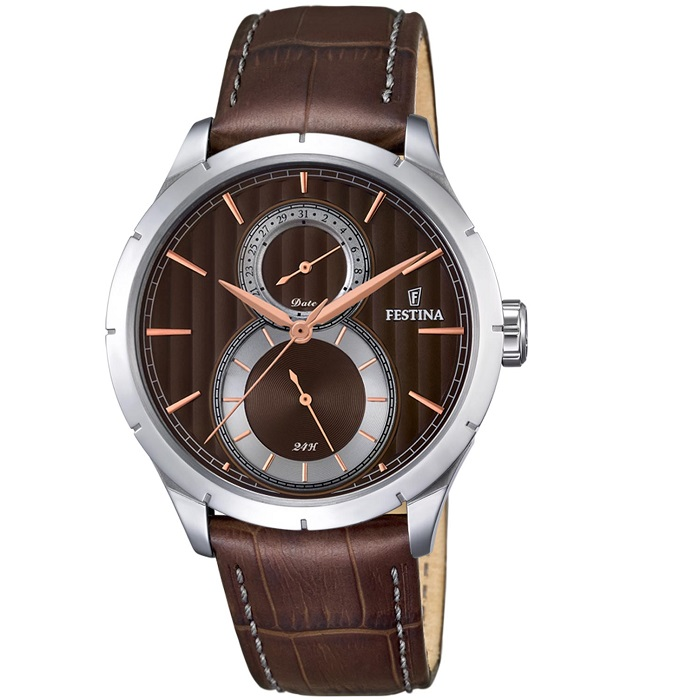 Ρολόι ανδρικό Festina F16892-5 με δερμάτινο λουρί και καφέ καντράν 550a822fdfc