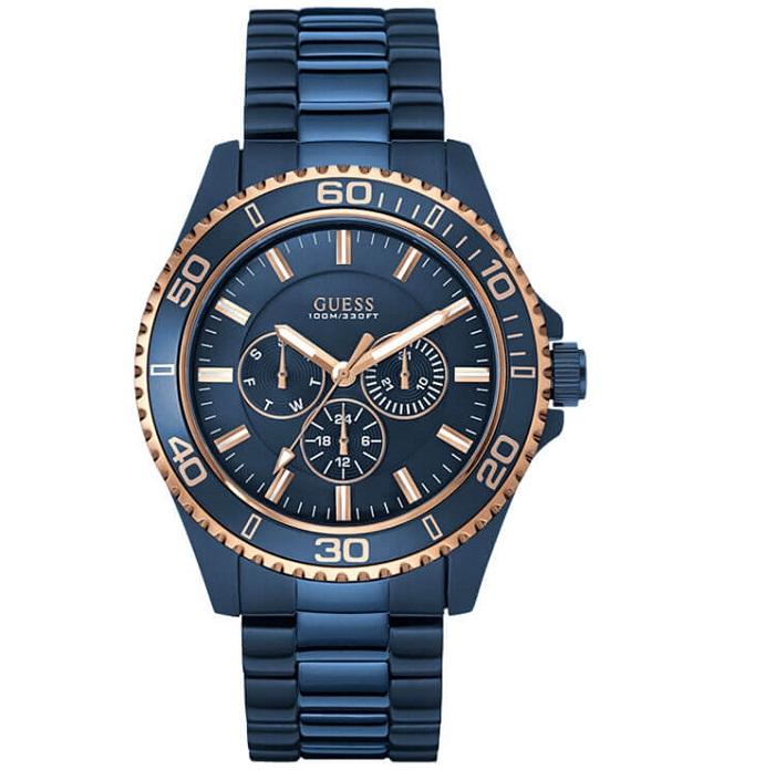 Ρολόι ανδρικό Guess W0172G6 με μπρασελέ και μπλε καντράν 6df6f98c1a5
