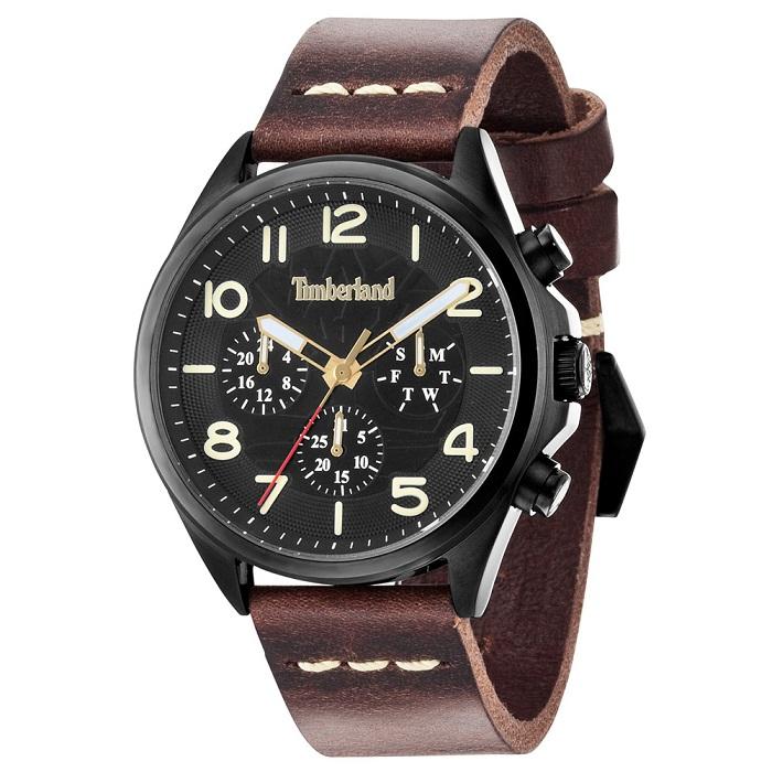 Ρολόι ανδρικό Timberland TBL14400JSB02 Multifuction με δερμάτινο λουρί και  μαύρο καντράν 632242a7ea3