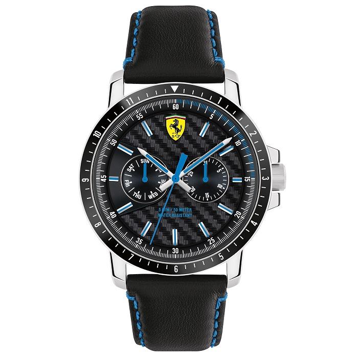 Ρολόι ανδρικό Ferrari Scuderia Turbo 0830448 με δερμάτινο λουρί και μαύρο  καντράν 4a417848c91