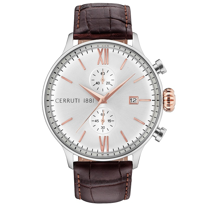 Ρολόι ανδρικό Cerruti Dervio CRA178SN04BR Chronograph με δερμάτινο λουρί  και ασημί καντράν 26ab8236c2e