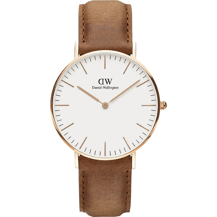 Ρολόι γυναικείο Daniel Wellington Durham DW00100111 με δερμάτινο λουρί και  λευκό καντράν e74a6d92941