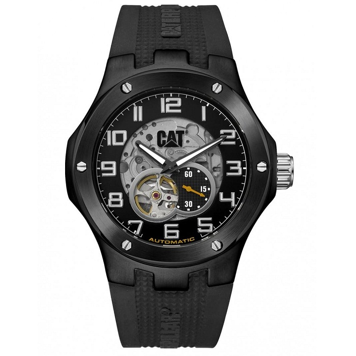 Ρολόι ανδρικό Caterpillar Navigo A816821116 Automatic με Rubber και μαύρο  Skeleton καντράν 21c65b092ae
