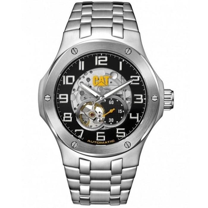 Ρολόι ανδρικό Caterpillar Navigo A814811111 Automatic με μπρασελέ και μαύρο  Οpen καντράν 48fecb9f9c1
