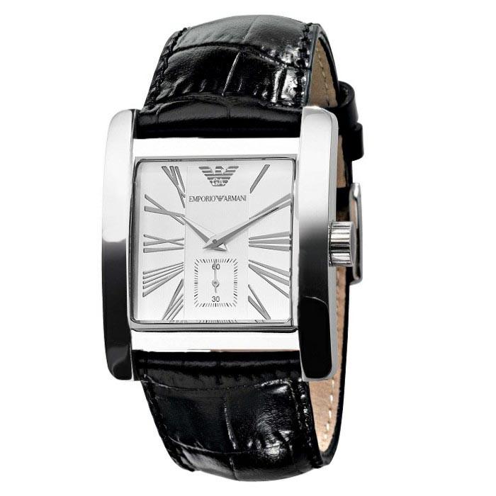 Ρολόι ανδρικό Emporio Armani Classic AR0180 με δερμάτινο λουρί και μαύρο  καντράν fc6b9ecda19