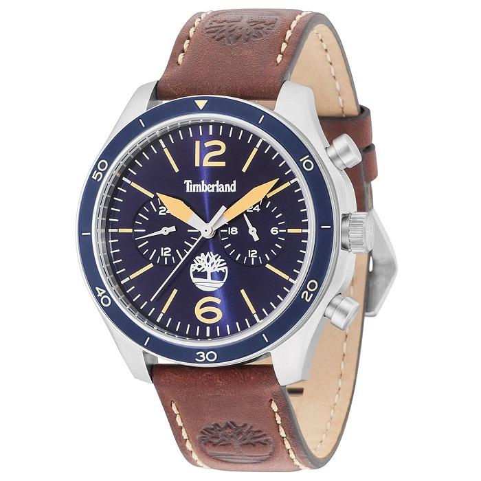 Ρολόι ανδρικό Timberland Gloucester TBL15255JS03 Multifuction με δερμάτινο  λουρί και μπλε καντράν 587e1f08285