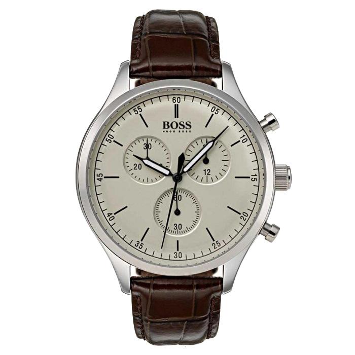 Ρολόι ανδρικό Hugo Boss Companion 1513544 Chronograph με δερμάτινο λουρί  και κρεμ καντράν e4aa33a2b40