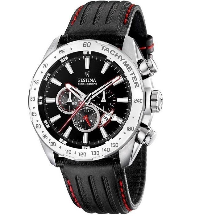 Ρολόι ανδρικό Festina F16489-5 Chronograph με δερμάτινο λουρί και μαύρο  καντράν f6c41cb2004