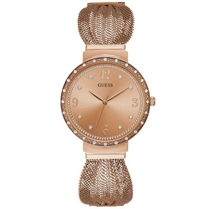 Ρολόι γυναικείο Guess Crystals W1083L3 με ιδιαίτερο μπρασελέ και ροζ χρυσό  καντράν 99e418c10ee