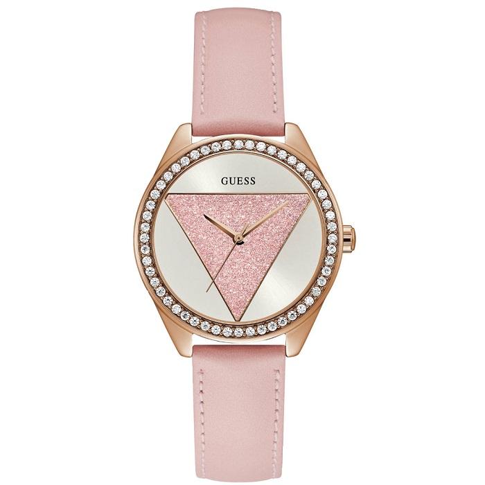Ρολόι γυναικείο Guess Crystals W0884L6 με δερμάτινο λουρί και λευκό καντράν  με ροζ Glitter 0b637a280e9