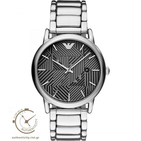 Ρολόι ανδρικό Emporio Armani Luigi AR11134 με μπρασελέ και μαύρο γκρι  ιδιαίτερο καντράν 1e93305bbd7