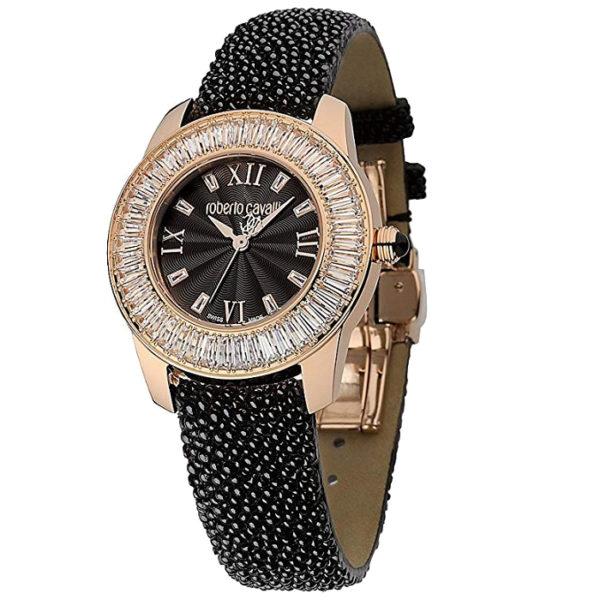 Ρολόι γυναικείο Roberto Cavalli Crystals R7251147525 με ιδιαίτερο δερμάτινο  λουρί και μαύρο καντράν cb5fe7e072f