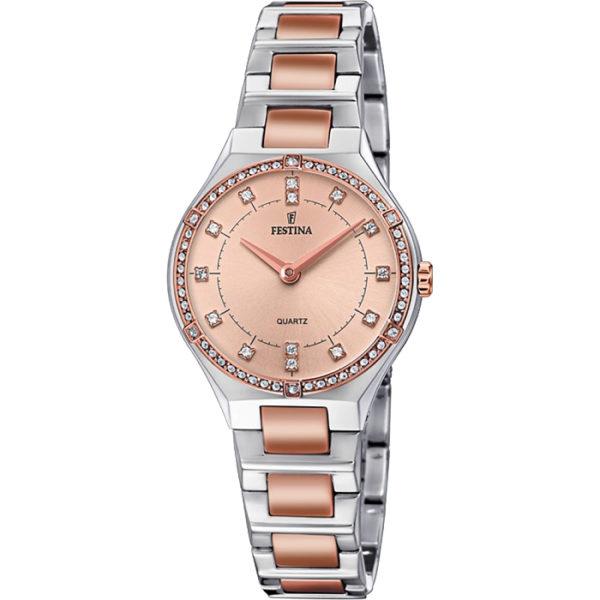Ρολόι γυναικείο Festina Mademoiselle F20226-4 με δίχρωμο μπρασελέ και ροζ  χρυσό καντράν c26f33042d6